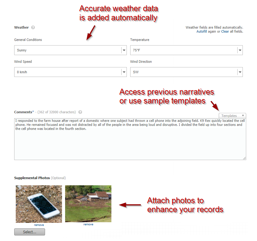 Easy Online Record Keeping - Autofill Weather, Template Snippets & Uploaded Photos