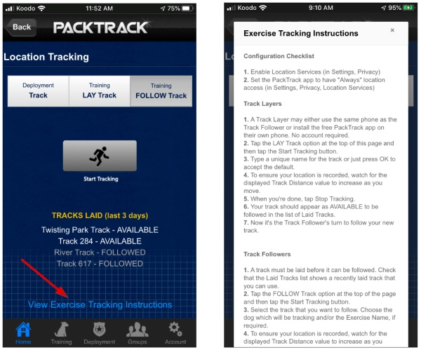 Review the exercise tracking instructions
