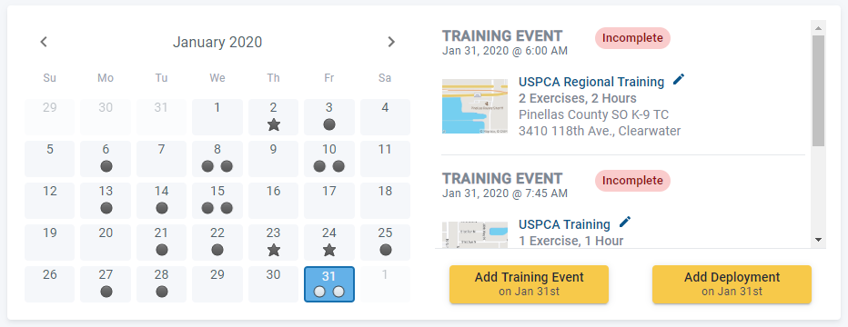 Review, Add or Edit K9 Records In PACKTRACK's New Calendar