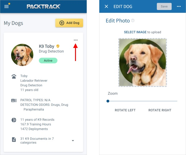 PACKTRACK Mobile App Dog Screen