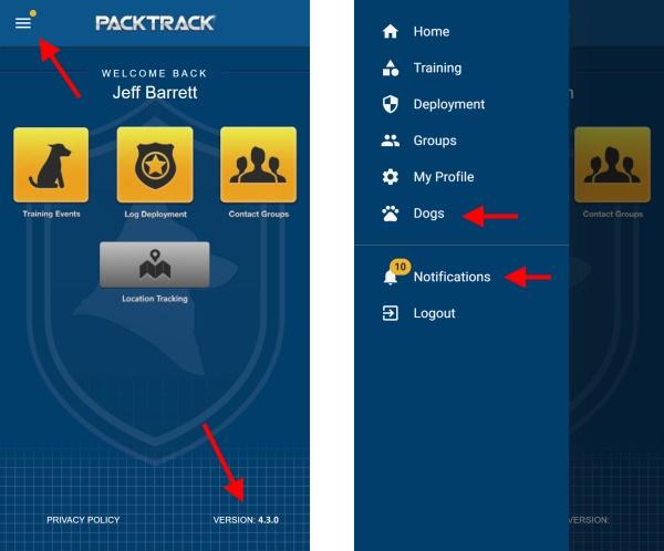 PACKTRACK Mobile App Home Screen