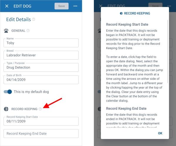 PACKTRACK Mobile App Dog Edit Screen