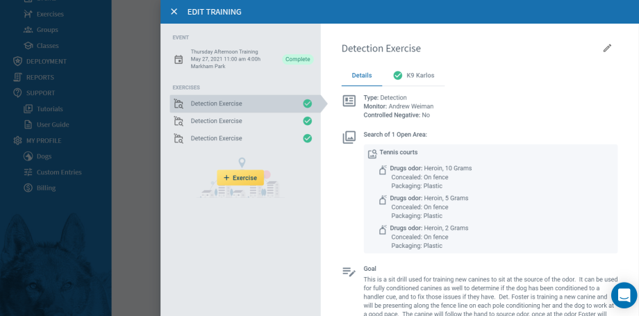 PACKTRACK Detection Exercise Page