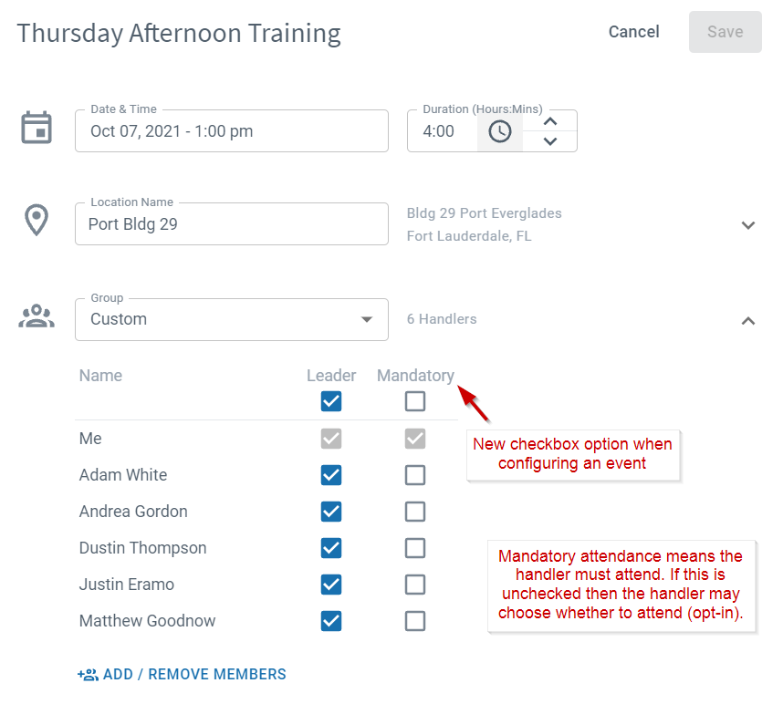 Attendance settings for K9 training events
